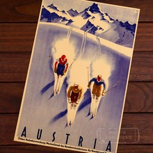 Ski with Parterners in Austria Skiing Travel Vintage Retro Decorative Poster DIY Wall Home Bar Posters Home Decor Gift