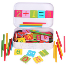 Baby Math Toy!!!Wooden Stick Magnetic Mathematics Puzzle Education Number Toys Calculate Game Learning Counting Kids Gifts(China)