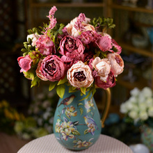 1Bouquet European Silk Artificial Peony Flowers Circle Core Simulation Pivoine de Chine Valentine's Day Home Wedding Decor(China)