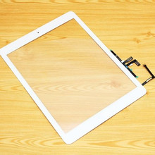Black/white For ipad 5 5th Touch Glass Screen Digitizer replacement parts for iPad air Home Button Adhesive Assembly