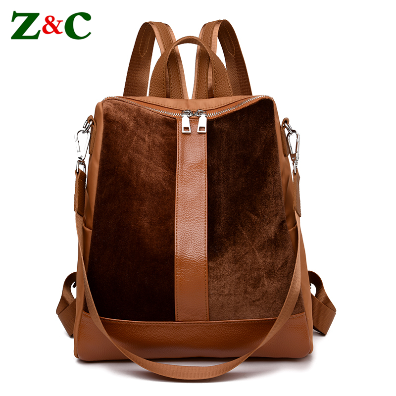 High Quality Womens Velvet Backpack Ladies Fashion Double Shoulder Bags Vintage Style Female  Leisure Travel Rucksack Sac A Dos<br>