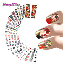 24 Sheet Halloween Nail Stickers Set Water Decals Scary Design Nail Wraps Hallow'sDay Decoration Ghost Bat Skull Witch Death