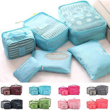 6 pecs Waterproof Storage Bag Packing Cube Travel Bags Organsier Clothes Shoes Travel Storage Bags
