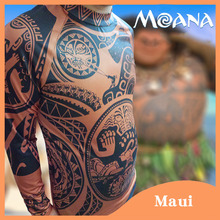 2017 New Cartoon Movie Moana Maui Cosplay Costume Men's Fashion Halloween Carnival Top Full Sleeve Printed T-shirt + Pants(China)