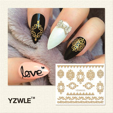 YZWLE 1 Sheet  Hot Gold 3D Nail Art Stickers DIY Nail Decorations Decals Foils Wraps Manicure Styling Tools (YZW-6030)