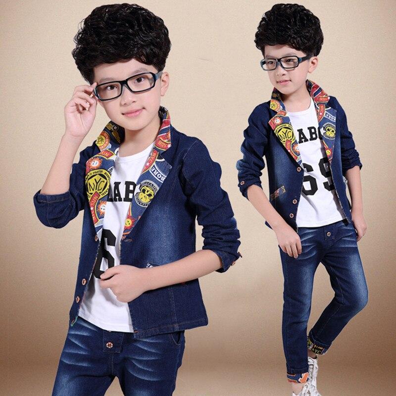 Fashion New 2017 Baby Boys Clothing Set Spring/Autumn Children Cotton Clothes Set Kids Boys Cowboy Coats +Jeans 2PCS Suit<br>