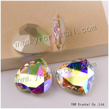 YANRUO 28mm 8pcs Claw Rhinestones Heart Strass Fancy Stones Glass Pointback Sewing Rhinestones For Clothes Dresses