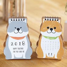 2018 Cartoon Dog Calendar Happy Together Mini Desktop Paper Calendar Daily Scheduler Table Planner Yearly Agenda Organizer(China)