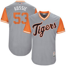 "MLB Men's Detroit Tigers Warwick Saupold ""Aussie"" Baseball Gray 2017 Players Weekend Authentic Jersey(China)"