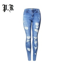 Fashion Ripped Skiny Jeans Women Hot Ladies Cotton Denim Elastic Hollow Out Pencil Hole Pants For Women's Clothing Clothes(China)