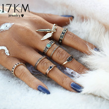 17KM New Retro Punk Leaf Ring Set Vintage Antique Gold Color Lucky Arrow midi Rings for Women 8PCS/Set Blue Stone Jewelry