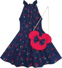 Sunny Fashion Flower Girl Dress Cherry Fruit Cotton with Cute Handbag Blue 2016 Summer Princess Wedding Party Dresses Size 4-8