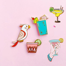 Free shipping  Cute Parrot Birds Summer Drink Metal Brooch Pins Button Pins Fashion Jewelry Wholesale
