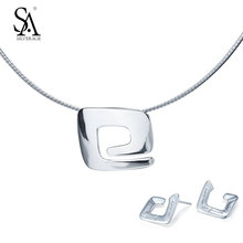 Buy SILVERAGE 925 Sterling Silver Jewelry Sets Women Classic Geometric Square Charm Choker Necklace Stud Earrings Fine Jewelry Set for $71.82 in AliExpress store