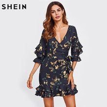 SHEIN Layered Frill Detail Surplice Wrap Dress Navy Floral Print Sexy Party Dress Three Quarter Length Sleeve Sheath Dress