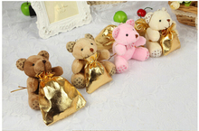 1PCS Plush Tactic bear Candy Bags lovely gold wedding accessories party supplies wedding decoration+7*9Gold sugar bags