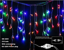 LED 5M curtain icicle strip light Garden lamps Icicle Lights Christmas Wedding Party Decorations 220V EU+Extend Plug x 60pcs(China)