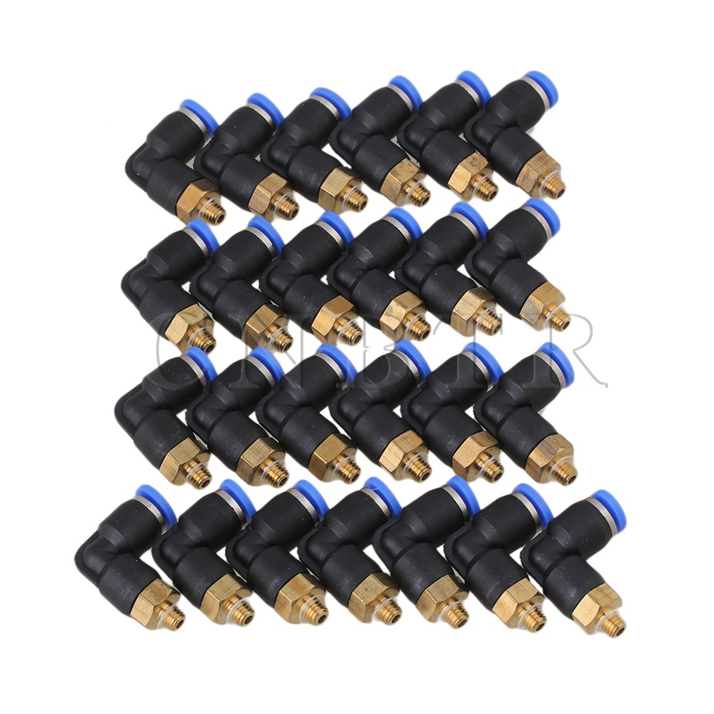 CNBTR 25Pcs 4mm M5 Pneumatic Connectors Thread Elbow Fitting Equal L 2-Way<br><br>Aliexpress