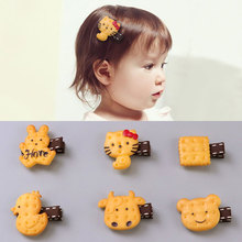 1PC New Cute Cartoon Scrunchy Girls Hair Clips Simulated Animals Biscuits Acrylic Safety Headband Kids Hair Oranment Accessories(China)