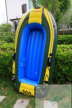 Air deck type 3-ply durable rubber pvc inflatable 3 person boat fishing raft for sale with hand pump and oars ,Boston valve(China)