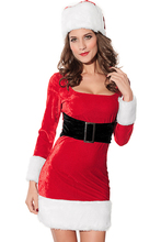 2016 Winter Women Party Club Red Christmas Costumes Sexy Hot 2pcs Mrs Santa Claus Dress Costume  Adult  New Year Clothes LC7219