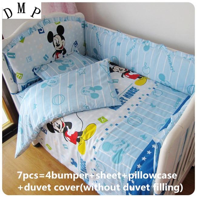 Discount! 6/7pcs Cartoon Baby bed around kit 100% cotton summer baby bedding set 100% cotton cot bedding ,120*60/120*70cm<br>