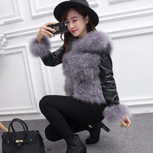 New 2016 Female genuine fur long-sleeved really ostrich feather leather short paragraph Slim was thin winter coat Korean version