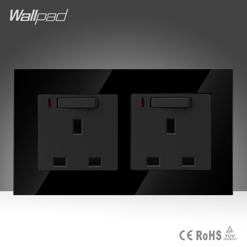 146*86mm 13Amp LED Switched UK Socket Wallpad Black Glass 110v-250V Double 13 A British Standard Wall Switched Socket with Neon<br><br>Aliexpress