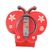 Kids Cartoon Animal Dial Quartz Watch Butterfly Slap Ring Silicone Bracelet Wristwatches Casual Sport Outdoor Watch for Children(China)