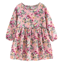 Baby Girls Dress Kids Children Girls Long Sleeve Cotton Floral Princess Dress Spring Summer Party Dress 4 to 11 Years