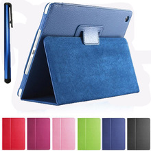 Hot Litchi Surface Flip PU Leather Case for apple Ipad Air 1 for IPAD 5 with Retina Smart Stand Magnetic Pouch Cove+one stylus