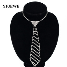 YFJEWE Fashion Jewelry Silver Color Bride rhinestone tie accessories wedding necklace jewellery statement necklace N072