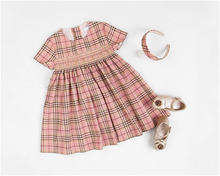 2017 Summer Plaid Pattern Printed Smocking Pink Dress for Baby Girls Party Dress for Girls Fashion Clothes Beach Dresses