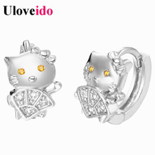Uloveido 15% off Silver Color Cute Anime Cat Zircon Children Stud Earrings For Women Sale Brincos 2017 Jewellery Girls Gift R325