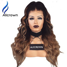 Alicrown 1B/27 Ombre Color lace Front Wigs For Black Women Body Wave Remy Hair Brazilian Human Hair Wigs With Baby Hair