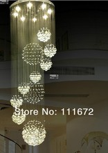 2016 new modern 13PCS lustre crystal ball design chandelier large lustres de cristal lights D80*H300cm guarantee 100%