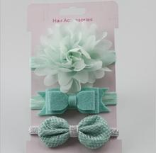 Hot 3pcs Mintgreen Flower headwear girl Flower Tie back halo Bridal Flower Crown headbands hair Accessories photo prop For Kids(China)