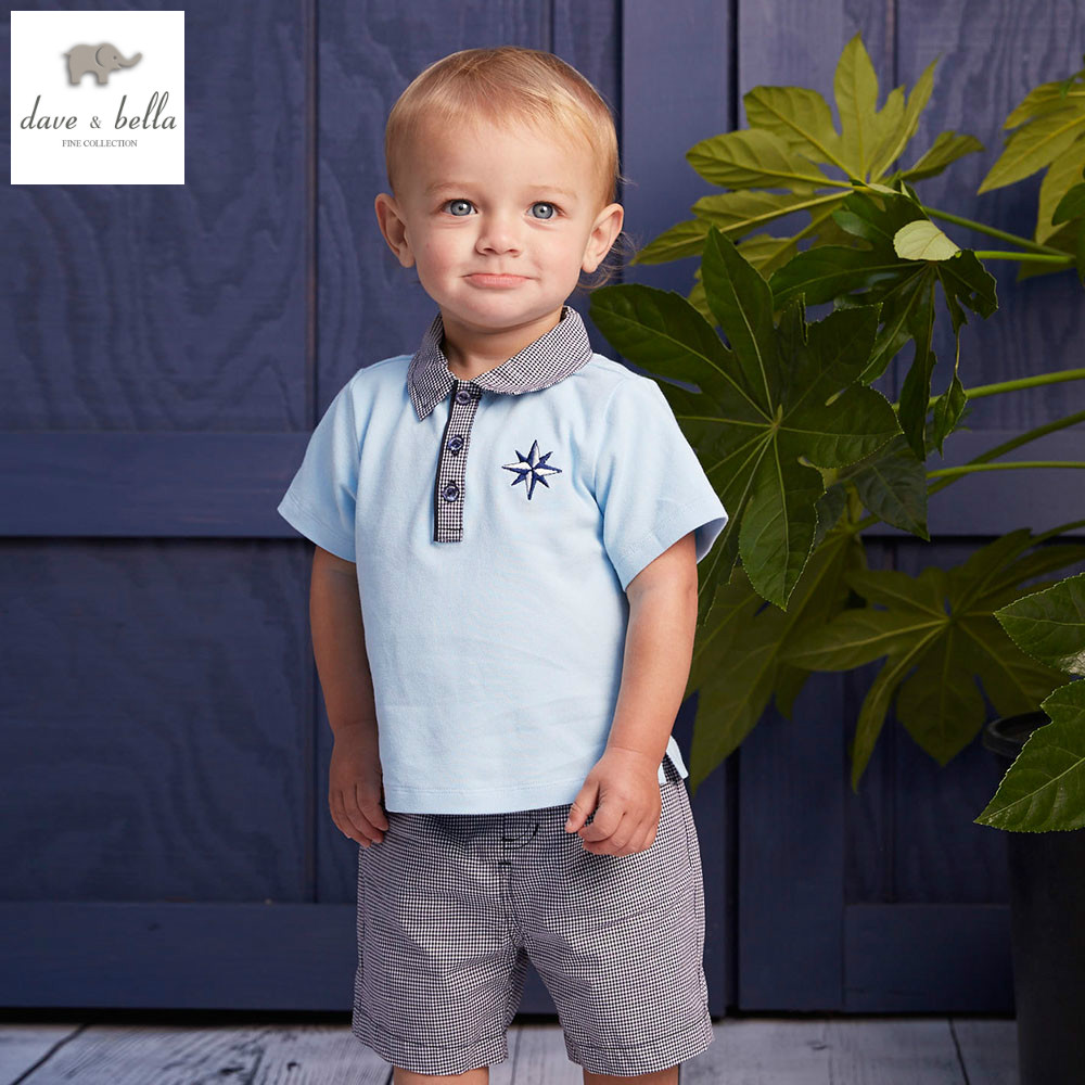 DB4595 dave bella summer baby boys clothing sets light blue sets child sets infant clothes kids sets baby costumes<br>