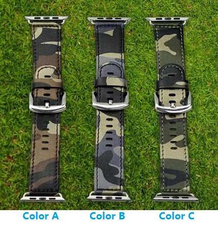 Camouflage Genuine Leather Apple Watch Band Navy Army Air Force Cam Sport Casual Bracelet Strap For iWatch Wachband With Adapter<br><br>Aliexpress