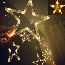 2M/6.6ft 138LED christmas lights star fairy icicle curtain flash light party holiday store xmas wedding decoration twinkle light(China)