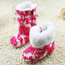 2016 Warm Winter Baby Girls First Walkers Ankle Snow Boots Infant Red Antiskid Baby Shoes(China)