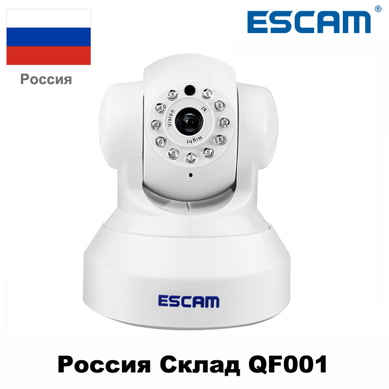 ESCAM Wireless 720P P/T Wifi IP Camera QF001 Support 32G TF Card IR-CUT Night Vision Security Network Camera From Russian<br>