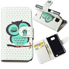 For Samsung Galaxy S2 SII i9100 GT-i9100 Case Stand Style Magnet Flip Wallet Cover PU Leather Cartoon Pattern Hard Phone Case