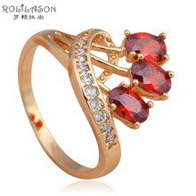 Garnet  Gold tone Health Fashion Jewelry Nickel & Lead Free Golden Element AAA Zirconia Rings Size #6#7#8#9 JR2034