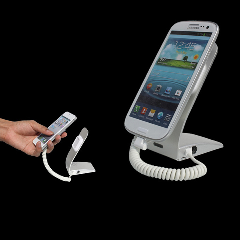 5xCharging mobile phone security stand cellphone alarm display holder burglar alarm for shopping mall with security cable<br>