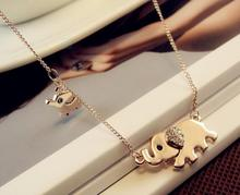 2016 New Hot Sale Cute Elephant Family Stroll Design Fashion Women Charming Crystal Chain Necklace Chocker necklace wholesale(China)