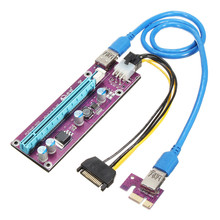New 006C PCI-E Express Riser Card USB 3.0 1x to 16x Extender Riser Card Adapter 60cm SATA Power Cable For Bitcoin Miner Mining(China)