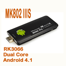 by dhl or ems 50 pieces MK802 IIIS Mk802iiis 8GB Bluetooth Android tv stick 4.1Dual core Mini PC RK3066 1.6GHz 1GB RAM