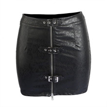 Buy Plus Size Women Mini Skirt Novelty Faux Leather Vinyl Latex Empire Sexy Pencil Skirt Black Zipper Front Latex Mini Party Skirt