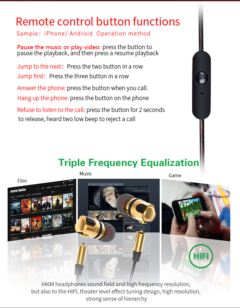 Plextone X46M Detachable Metal HIFI Earphones Stereo Super Bass Sport Headsets Noise Cancelling In Ear Earbuds Earphone With Mic